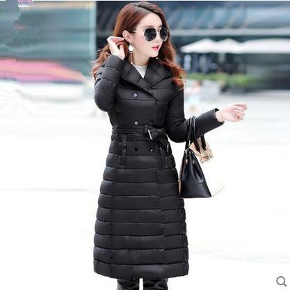 Manteau Ceinture Chaud À Coton Avec Femmes Black Des Long D'hiver rembourré red Veste Capuchon Mince tQdrsh