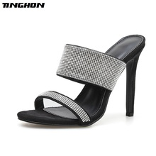 TINGHON Summer Rhinestone Sandals Womens Shoes Slip On Stilettos High Heels Party Sexy Women Slippers