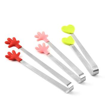 Silicone Stainless Steel Cooking Kitchen Ice Tong Food BBQ Salad Hand Clip LX4791