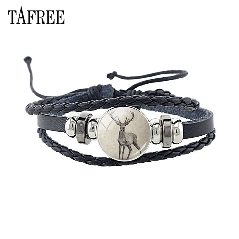 TAFREE Vintage Animal deer Leather Bracelet Glass Elephant Leopard Panda Pattern Cabochon Bangles Punk Jewelry A488