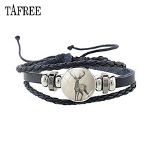 TAFREE Vintage Animal deer Leather Bracelet Glass Elephant Leopard Panda Pattern Cabochon Bangles Punk Jewelry A488