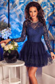 Fashion Design Lace With Tulle Cocktail Dresses Beading O Neck Short Mini Sexy A Line Prom Dresses Long Sleeve Party Dresses