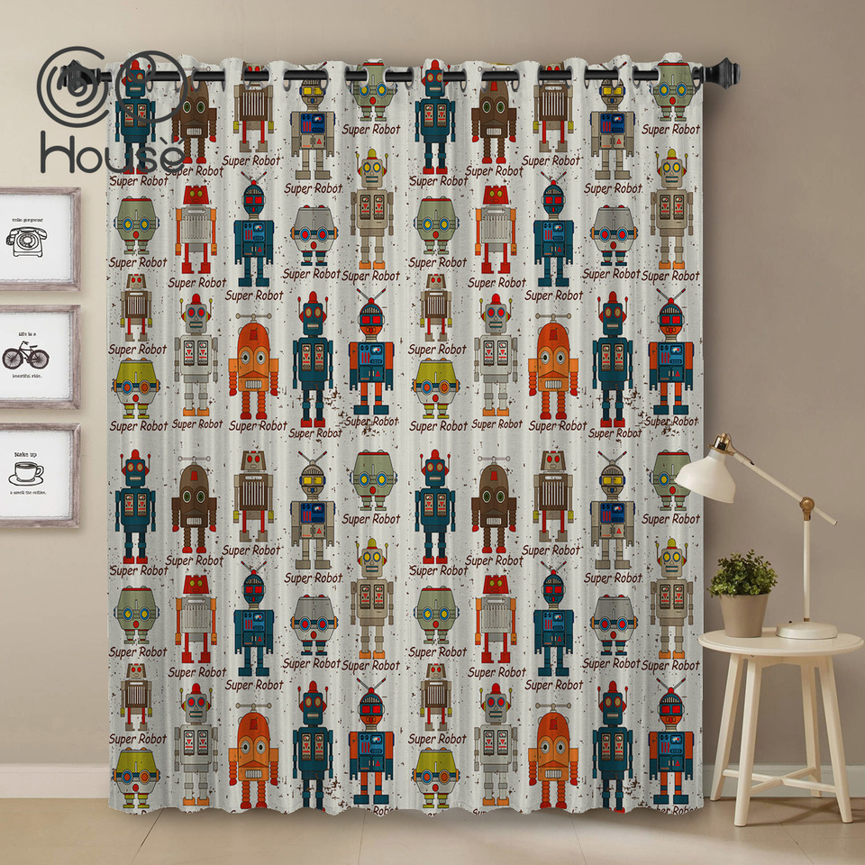 Cocohouse Robot Animation Wallpaper Cartoon Room Curtains Large Window Living Room Curtain Rod Bathroom Curtains Kitchen Indoor Aliexpress
