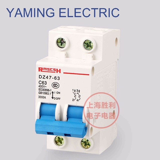 us $2 03 10% off p68 miniature circuit breaker dz47 63 400v 2p 6 63a 2 pole switch 50hz mcb cutout overload circuit breaker in circuit breakers from