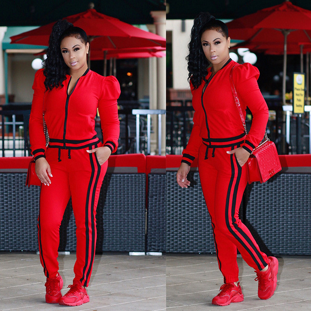 2019 TWO PIECE SET Stripe jogger Pants Women Sweatsuit Runway Tracksuit 2 Pieces Sporting Suit Female Clothing Outfits Plus Size