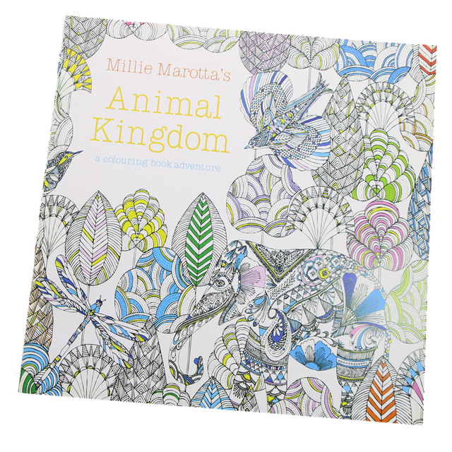 24 Pages Animal Kingdom English Edition Coloring Book For Children Adult Relieve Stress Kill Time Painting
