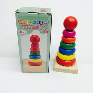 Toys Rings Rainbow-Tower Montessori Wooden Baby Kid for Boy Girl Gift Funny Education