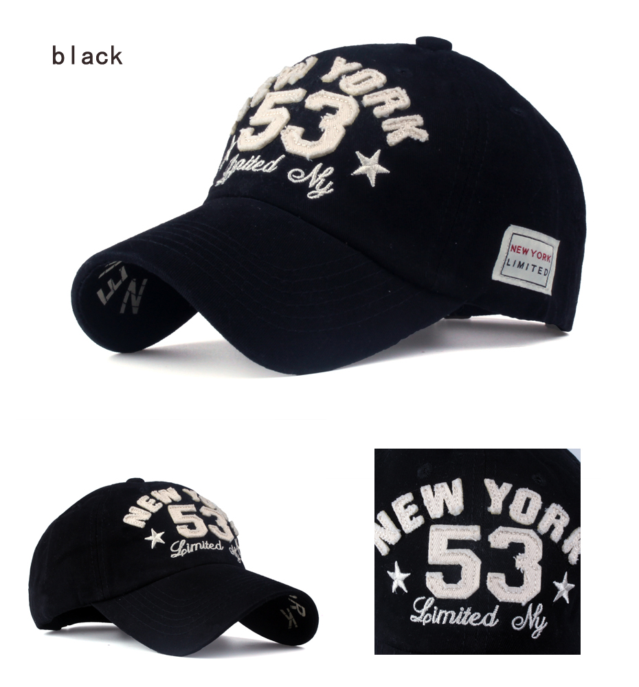 Old Style New York Lettering Pre-washed Denim Baseball Cap - Black Cap Detail Views