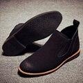 2017 Novo Fundo de Borracha Sapatos de Couro da Camurça Dos Homens de Alta Qualidade Partes Superiores altas Botines Ankle Curto Martin Botas Homens Bottes Gamuza Daim