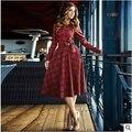 Estilo Vintage 50 s Rockabilly Vestidos de Otoño Invierno de Las Mujeres 2016 Color Rojo A Cuadros Arco del envío Más el Tamaño 7XL Midi Retro vestido