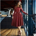 Vintage 50s Rockabilly Style Autumn Dresses Womens Winter 2016 Red Plaid Bow Plus Size XXS- 7XL Midi Retro Dress