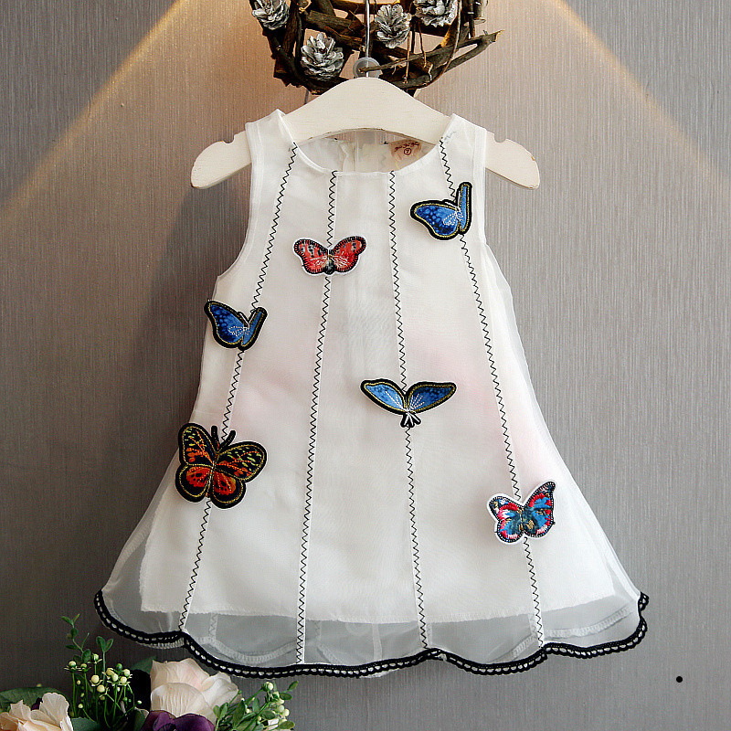 Brand Girls Dress 2017 New Summer Baby Girls Dresses Stereo Cloth Stickers Butterfly Dresses Girls Clothes Kids Dresses