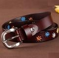 2016 cowskin leather belts for women brand new designer womens belts flower luxury female strap women's belt for pants jeans