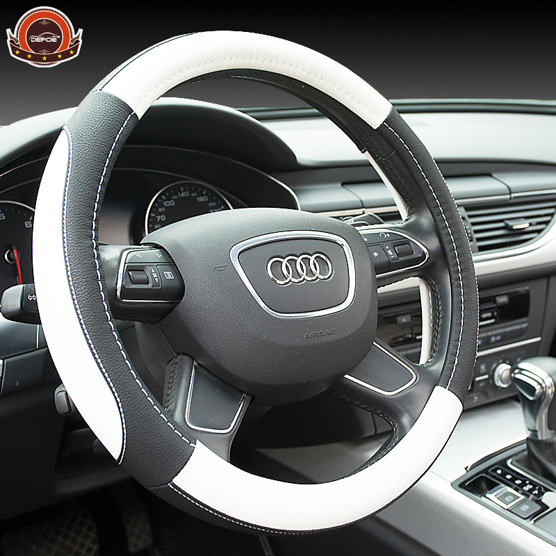 New sport luxury car steering wheel cover Seansons Environmental Non-slip breathable car steering wheel cover leather freeship senior luxury hand knitted bv style car steering wheel cover for mini cooper