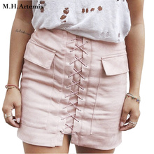 M H Artemis Boho Chic women 90 s Vintage pocket preppy short skirt high waist casual