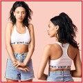 Mujeres Logo Cartas Punto UNIF Pista Tops Sujetador Sin Pecho Acolchada Unif Tanque Crop Tops para Mujeres de la Alta Calidad En Stock Miley Cyrus