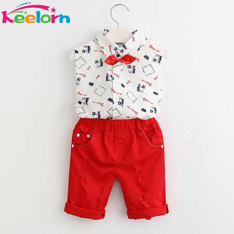 Keelorn Boys Clothing Sets 2017 New Summer Fashion Style Kids Clothing Sets Print Shirt+Red Pants+Belt 3Pcs for Boys Clothes
