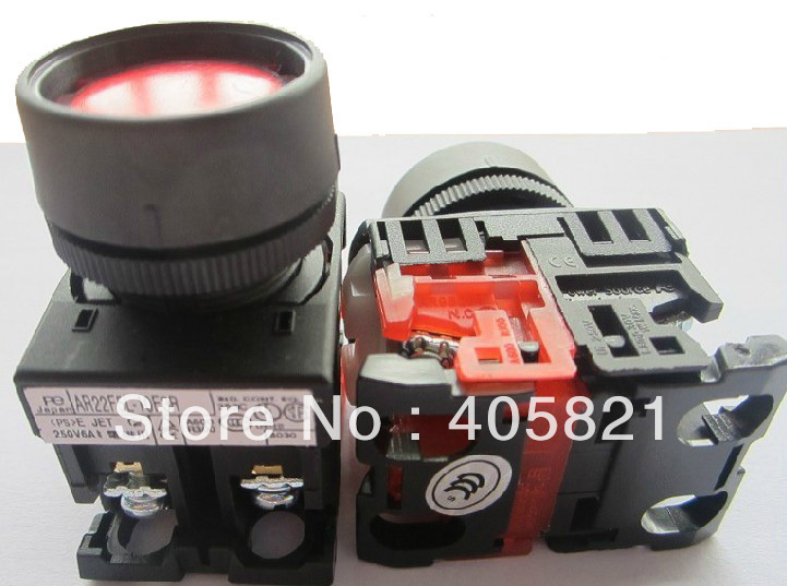 AR22F5L-11 Maintained Flush Push button With Pilot lamp 1N/O+1N/C 22MM Self-locking
