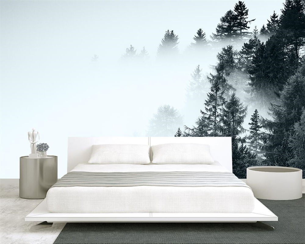Beibehang Custom Wallpaper Black And White Vintage Mood Forest Fog Alpine Living Room Sofa Background Wall Mural 3d Wallpaper
