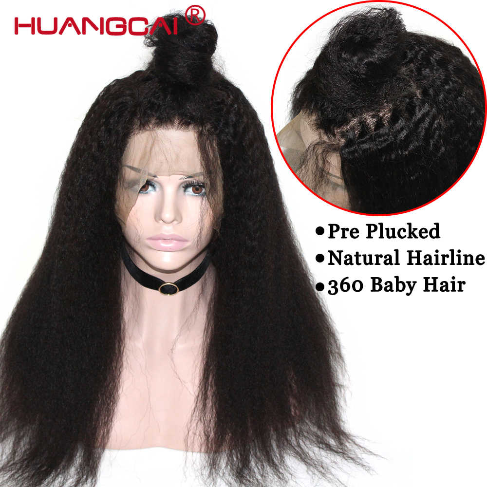 باروكة أمامية 180% شعر كينكي مستقيم 360 باروكة بالدنتلة الأمامية من بيرو شعر طبيعي ياكي باروكات منزوعة مسبقًا بشعر ريمي من الدانتيل