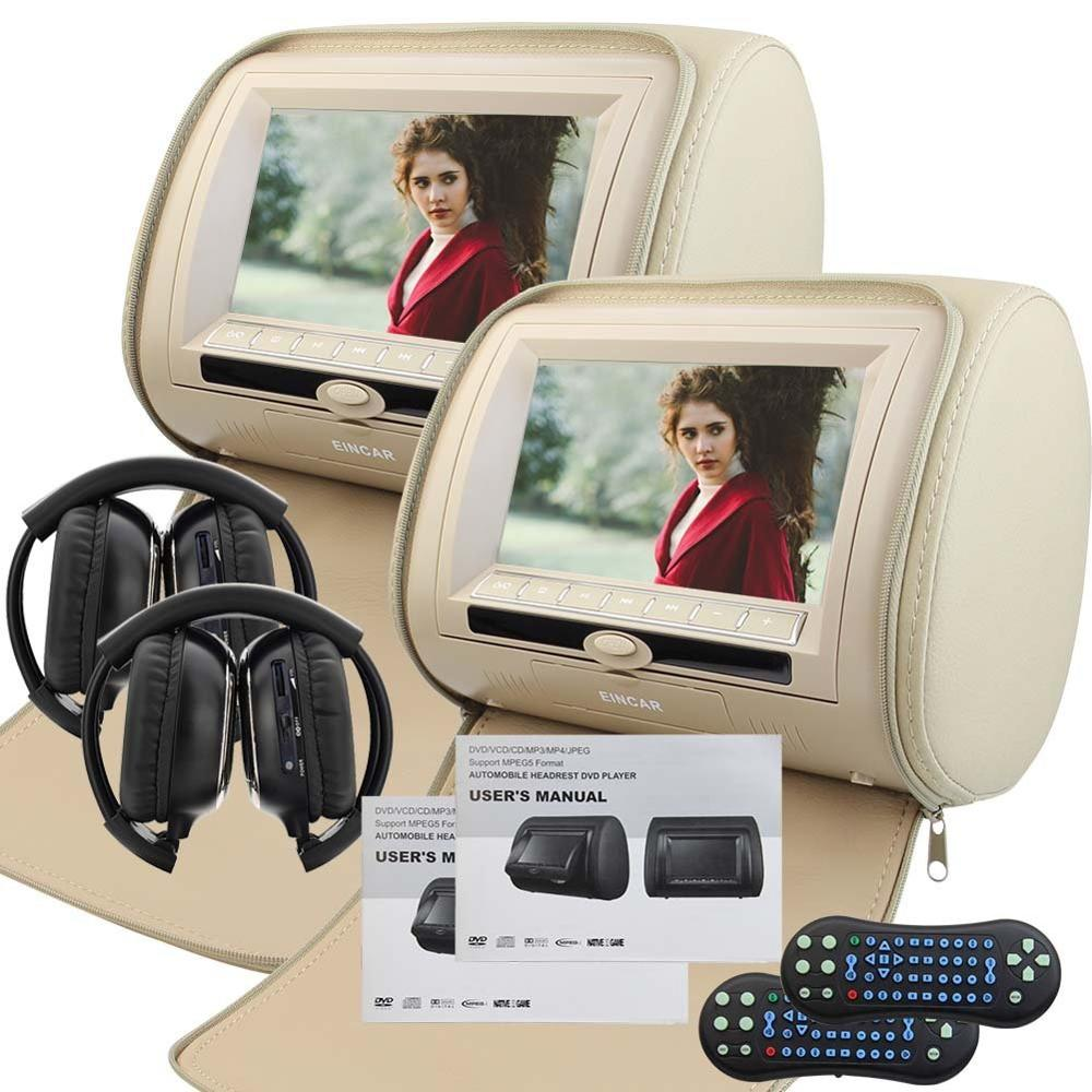 2 IR Headphone included LCD Monitor Car cd Headrest Pair or Car dvd Headrests monitor Video player Monitors support 32-bit games new arrival both car and home headrest 9 inch video display monitor cd dvd player usb sd readers hdmi port support 32 bit games