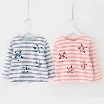 Kids Girl T Shirt Autumn Winter Toddler Baby Cute Starfish Warm Bottoming Shirt Long Sleeve Princess Striped Tops Girls Clothes