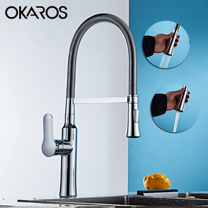 OKAROS Pull Out  Kitchen Faucet Chrome Finish Dual Sprayer Nozzle Cold Hot Water Mixer Bathroom Swivel Faucet Torneira Cozinha frap new arrival silica gel nose any direction kitchen faucet cold and hot water mixer torneira cozinha crane f4453