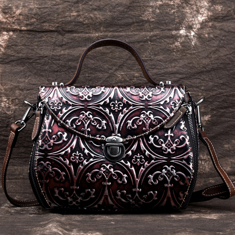High Quality Genuine Leather Women Bag Embossed Shoulder Messenger Handbag Brush Color Tote Purse Crossbody Top