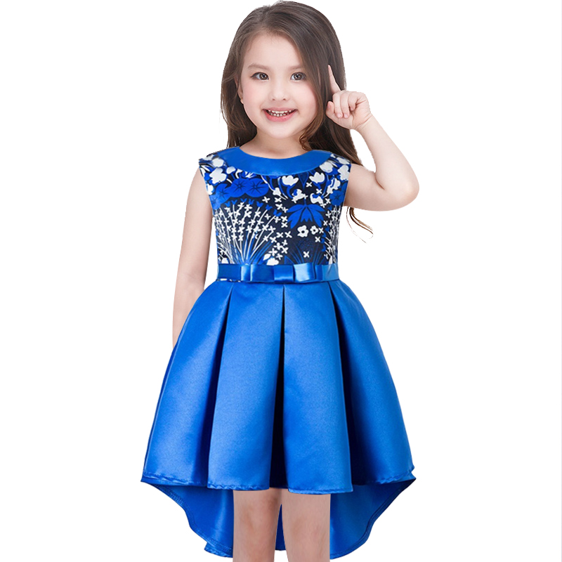 Baby Girl Print Princess Dress for Wedding party Kids Dresses  Toddler Children Fashion Dovetail dress Clothing baby girls white dresses for wedding and party wear girl princess dress kids lace clothes children costume age 3 4 5 6 7 8 9 10