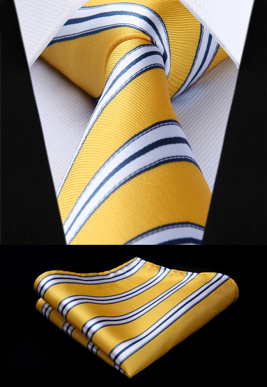 Woven Classic Tie Necktie  Yellow White 3.4