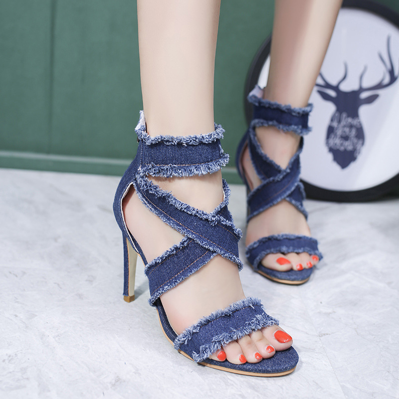 Dwayne Female Sandals Shoes Stilettos-Heels Crossed Hollow-Out Sexy Fashion Womens 10cm