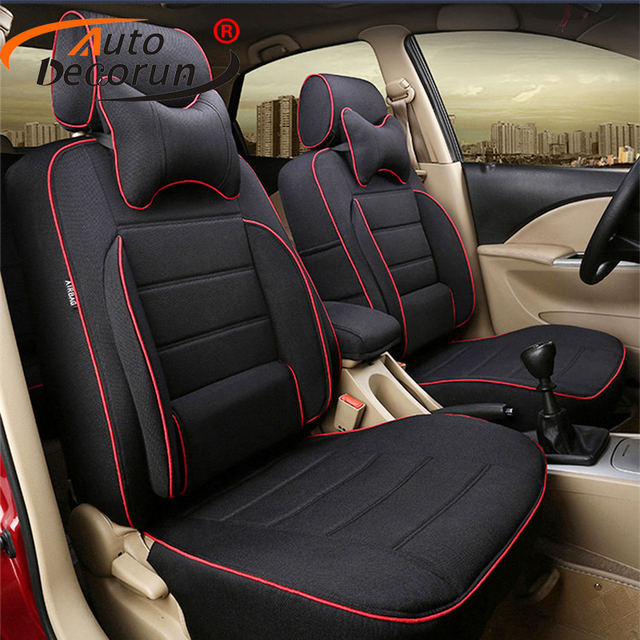 AutoDecorun Linen Cloth Car Cushion Cover For Infiniti Qx70 Accessories Seat Covers Set Supports