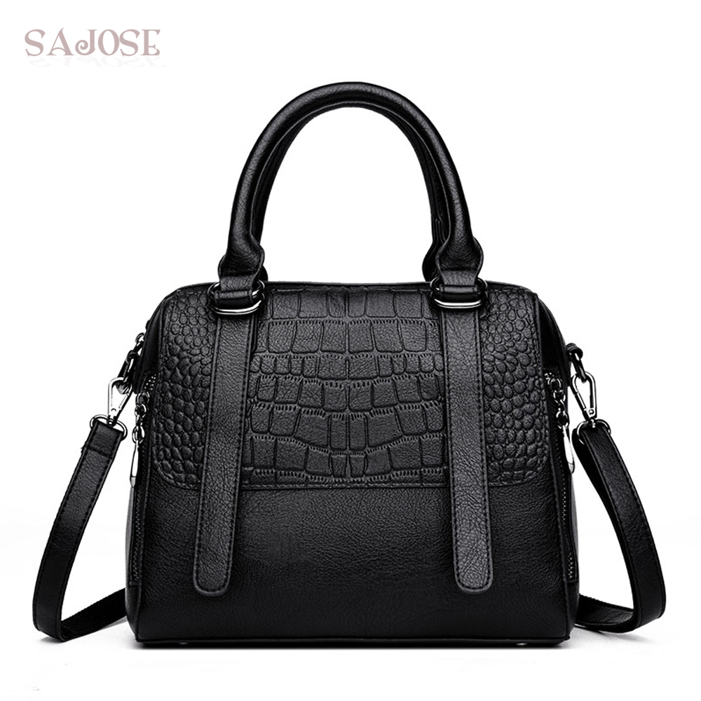Women Leather Handbag Female High Quality Fashion Alligator Black Simple Big Lady Tote Bag Shoulder Messenger Bags DropShippin