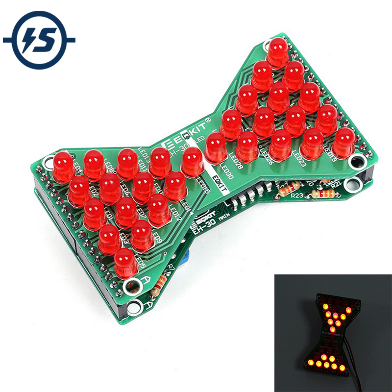 DIY Kit Red LED Electronic Hourglass DIY DC 5V Funny Electric Practice Kits