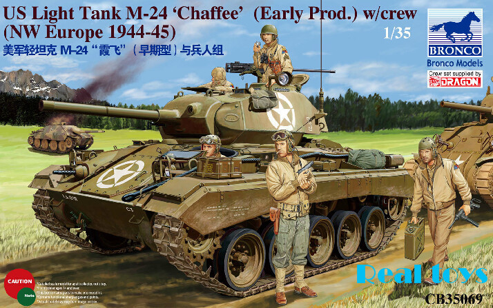 Bronco model CB35069 1/35 US Light Tank M-24 Chaffee (WWII Prod) with Crew bronco model cb35054 1 35 wwii civilian 1937 german opel olympia car