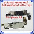 Para el iphone 4s placa base 100% de trabajo gsm versión original 16 gb desbloqueado placa base placa de circuitos del teléfono móvil de la función completa