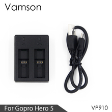 Vamson สำหรับ GoPro HERO 8 7 6 5 อุปกรณ์เสริม 2 ช่องสำหรับ GoPro HERO 8 7 6 5 กล้อง VP910