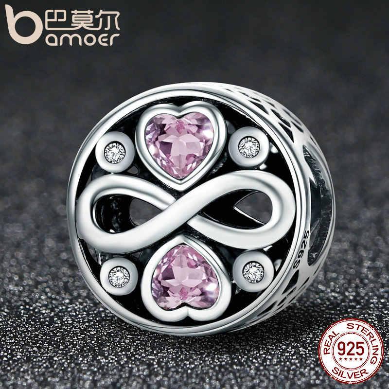 BAMOER Autentica Al 100% 925 Sterling Silver Infinity Amore Rosa di Cristallo Del Cuore Misura Branelli Braccialetti Con Ciondoli Gioielleria Raffinata S925 SCC240