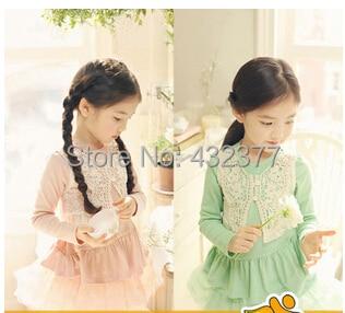 2014 nueva marca kid camisetas de la muchacha infantil encaje de manga larga camiseta niño otoño ropa color rosa verde
