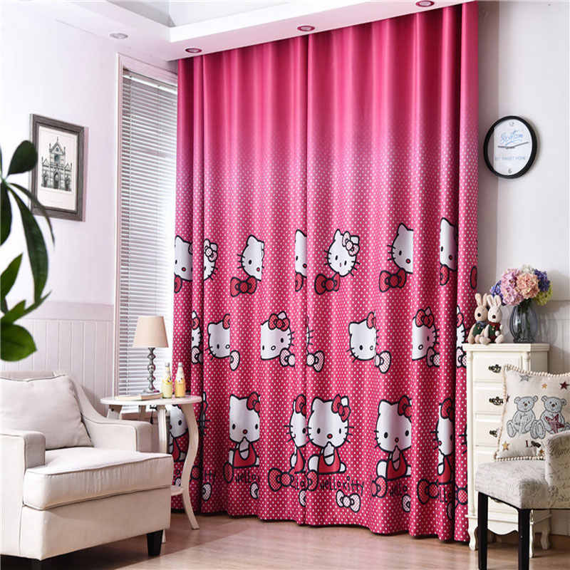 Hello Kitty Cat Print Curtains Children's Shadow Fabric Bedroom Cotton Polyester Pink