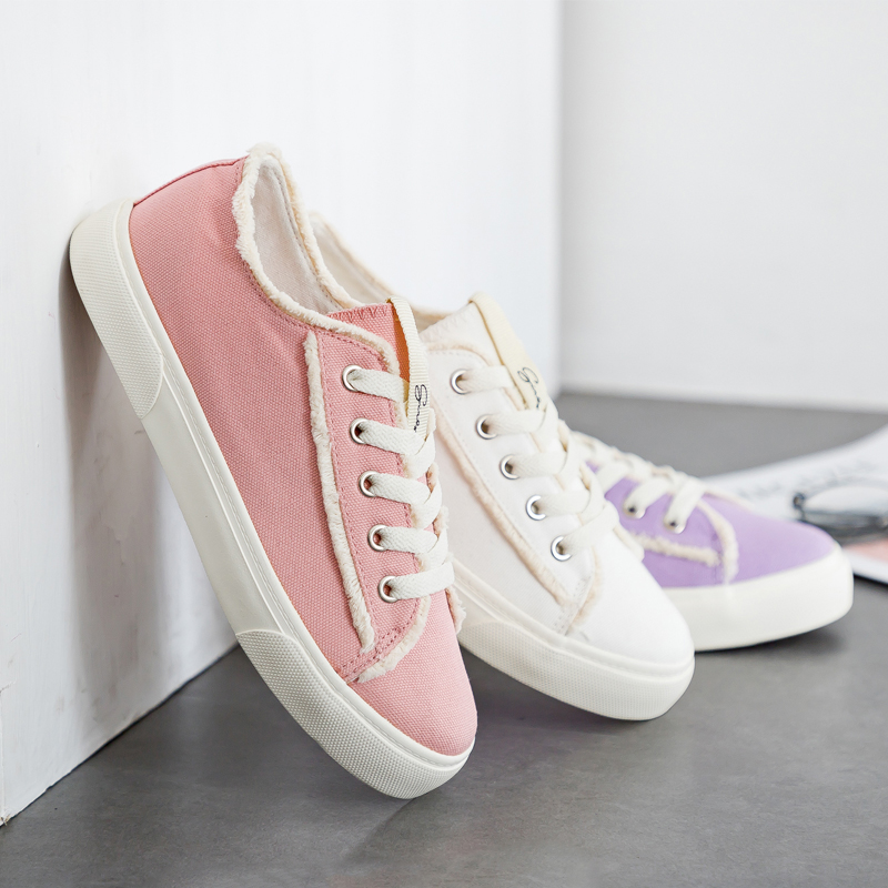 Women Canvas Shoes Solid Color Lace Up Flat Heel Female Cloth Shoes Sweet Pink Sneakers Students Casual Shoes All Match 35-40 trendy letter beads layered necklace for women