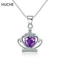 HUCHE de Boda Marca Plata de ley 925 Collar y Colgante Collar de Cadena para Las Mujeres AAA CZ Corona de La Reina Púrpura/Blanco piedra ZA132