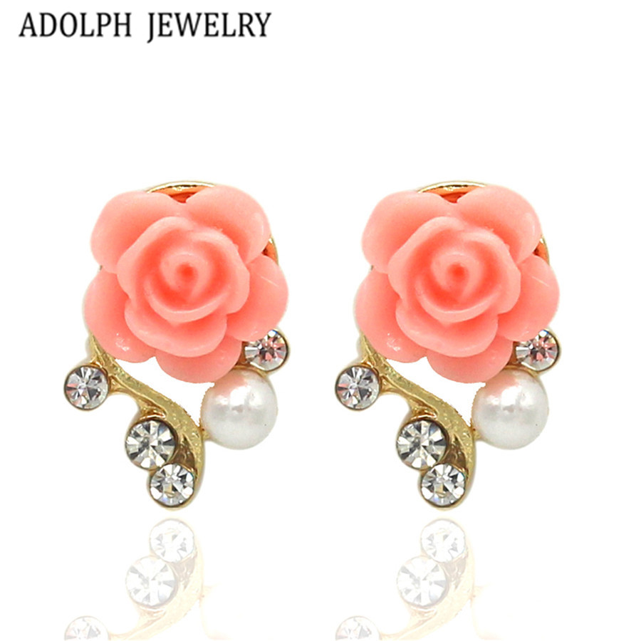 ADOLPH ювелирные изделия оптом 2016 новый дизайн модные аксессуары смола цветок серьги гвоздики для темперамент леди Лидер продаж Best подарок