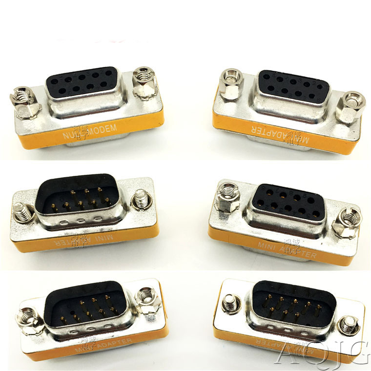 New Female To Female DB9 9Pin Gender Changer Convertor Male To Male DB9 Cross Adapter Oranger Null Modem Mini