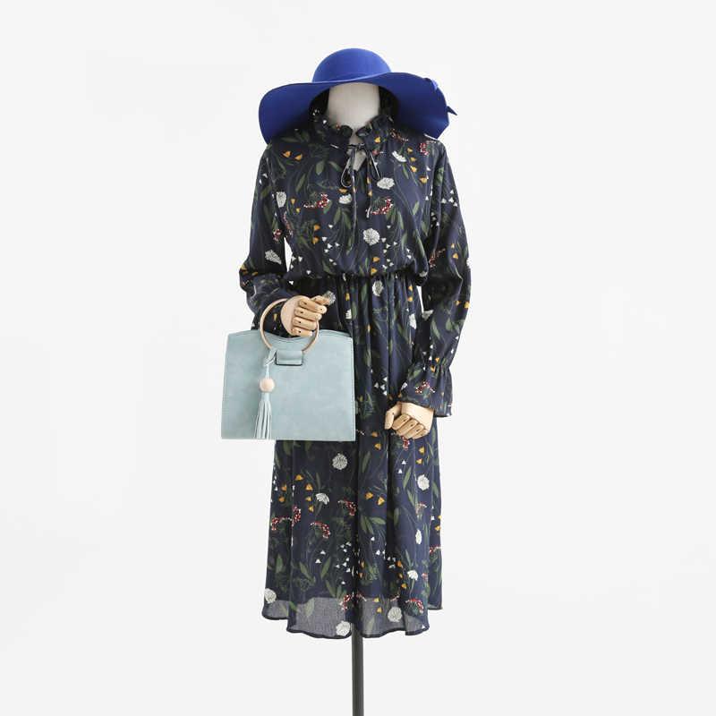 עניבה אלגנטית אביב קיץ שיפון פרחוני בציר dress הארוך boho חוף שמלות 2017 נשים חדשות dress vestidos ab146