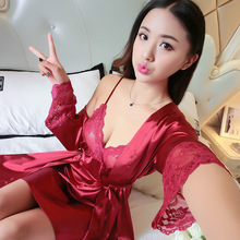 Women's Nightgown Sling Robe Two-piece Kimono Pajamas Spring and Summer Sexy Lace Ladies Home Service цена 2017