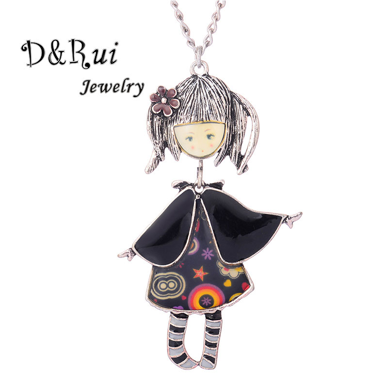 Enamel Caped Girl Necklace For Women Cute Alloy Doll Pendant Long Sweater Chain Handmade Jewelry Accessories 2019 New Arrival