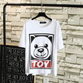 2016 Women's Short Sleeve T-shirts Casual Cartoon Bear Summer Style Girls Tops Plus Size 3XL Black White TY023