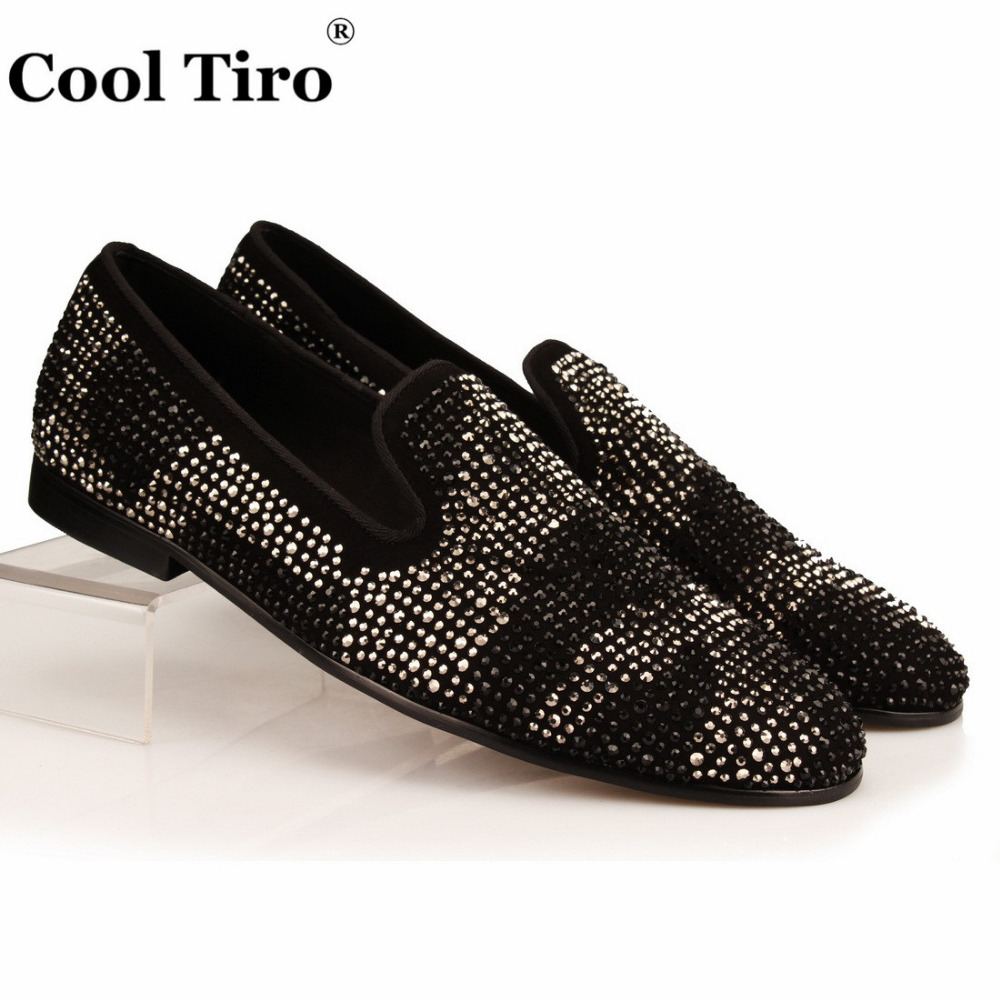 COOL TIRO Black Suede Slippers Crystals Shoes Rhinestones Loafers Men Party  Dress Shoes Fashion Men s flats Genuine Leather 3296f61965de