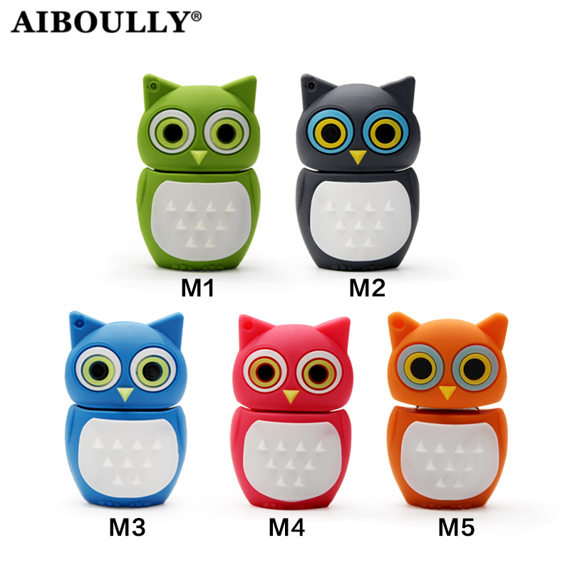 AIBOULLY Usb 2.0 Pendrive Personalizado Owl USB Stick 64GB 32GB Memory Stick Pen Drive USB Drive 16GB 8GB 4GB U Disk For PC